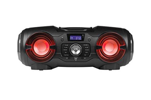 MEDION LIFE P65104 MD 43428 Bluetooth CD-Party-Sound-System (Kompaktanlage,UKW Radio, USB, AUX, farbige Lichteffekte, Batteriebetrieb) schwarz (Sound-system Cd-player)