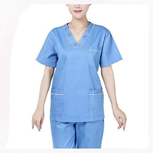 SOGG Medizinische Uniformen Damen-Peeling-Set Cargohose mit Mehreren Taschen Pflegepeelings-Set Stilvolles Medical-Top gegen Falten,L - Cargo-kordelzug Uniform
