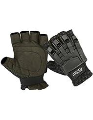KYB Paintball guantes Airsoft SWAT de motocross ciclismo armadura dedo medio guantes de menos, color negro, tamaño mediano