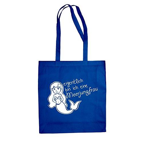 Baumwolltasche Jutebeutel -- eigentlich bin ich eine Meerjungfrau weiss-fuchsia