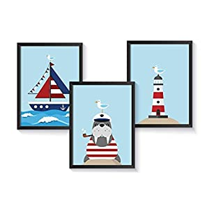 Kinderzimmer Poster maritim - A4 Kunstdruck Kinderzimmer - Kinderposter Set - ohne Bilderrahmen