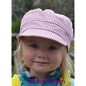 Michelmütze Baumwolle rosa/weiß gestreift