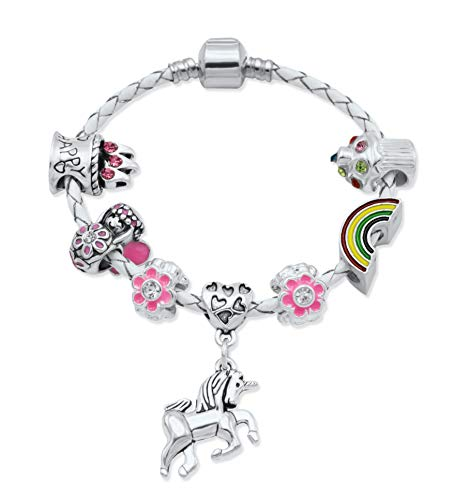"""Braccialetto con charm da bambina """"Unicorno"""" cuoio color crema e scatola regalo gioiello da bambina"""