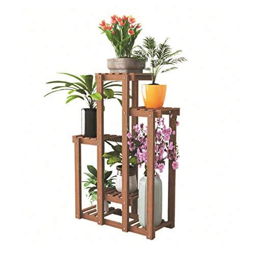 ZX Gartenarbeit Blumenhalter Pflanzenstand Multi Hölzerne Regal-Bonsai-Betriebsblume Pot Rack Ausstellungsstand Für 6 Flower Pot Flower Rack Garten