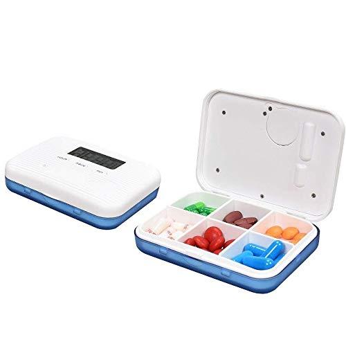 Contever Digitale Pillendose Wecker Pillenbox Timer Alarm Pillen Elektronische Pillenbox Pillentimer, Tragbar Tablettenbox mit 6 Fächer Lagerung Für Reisen Outdoor Aufbewahruung, Blau (Alarm Timer Uhr Pille)