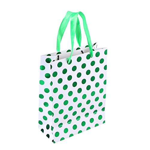 Amosfun 10 stücke Geschenk Papiertüten mit Tupfen Muster Band Griff Geschenk Taschen Einkaufstüten Süßigkeitstaschen für Kinder Geburtstag Hochzeit Party Supplies Gefälligkeiten (Grün)