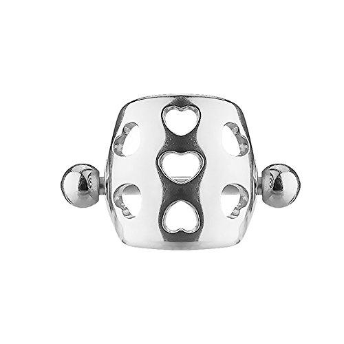 Piersando Tragus Helix Ohr Piercing Cartilage Knorpel Stab Stecker 316 L Chirurgenstahl ohne Steine mit Schild Schirm Herz Silber