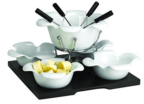Domestic 923530 - Juego de fondue (recipiente principal de cerámica, calentador, tabla de madera, 4 cuencos de porcelana, tenedores con mango de plástico)