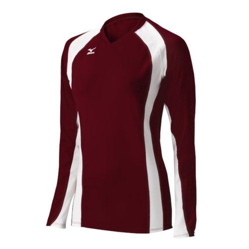 Mizuno Damen Volleyball Techno Volley V Long Sleeve Jersey, Damen, 440441.1200.07.XL, Cardinal/White, XL