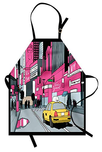 New Yorker Schürze, Ansicht von Manhattan und ein Taxi am Times Square, Unisex-Küchenschürze mit verstellbarem Hals für das Kochen der Backen-Gartenarbeit, grauer Knickenten-Rosa-Senf und ()
