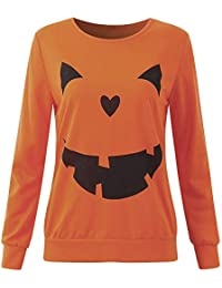 Tefamore Mujer Camiseta, Halloween Pumpkin Estampado Manga de Larga Blusas para Mujer,