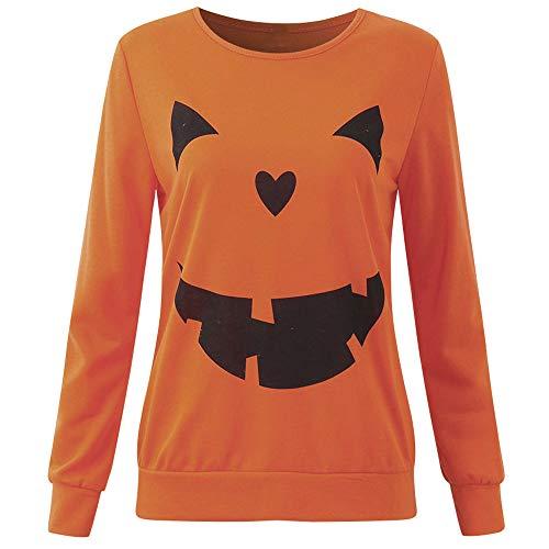 Cooljun Damen Halloween Kürbis Blusen Tops T-Shirt Plus Size Langarm Halloween Wütend Kürbis Skew Neck Tee Bluse Tops (Orange, Medium)