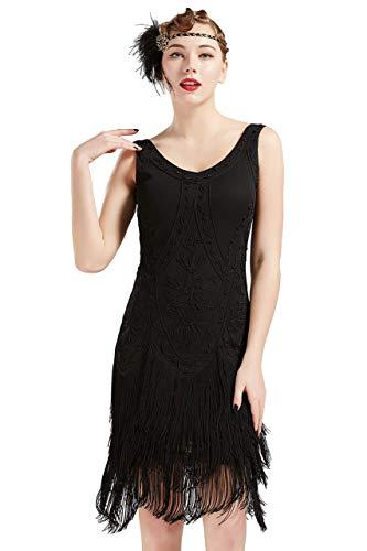Coucoland 1920s Kleid Damen Flapper Kleid ohne Ärmel V Ausschnitt Knielang Charleston Kleid Gatsby Motto Party Damen Fasching Kostüm Kleid...