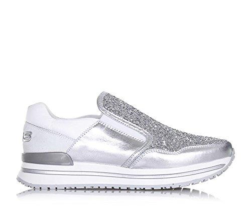 4US CESARE PACIOTTI -Silberner und weißer Schuh, aus Leder und Glitzern, die richtige Auswahl für diejenigen, Mädchen, Damen - 2