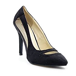 Belle Gambe Women's Partywear Black Pointed toe Stilletoes with Mesh on Sides - 8C_971007-35_39