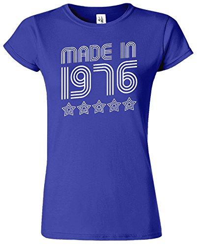 Made In 1976 5 Stars Birthday Retro-Damen-T-Shirt Kobalt / Weiß Design