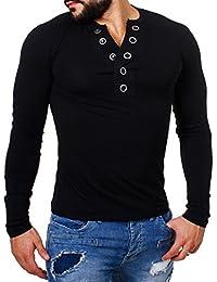 Carisma Herren Longsleeve T-Shirt langarm Knopfleiste mit großen Knöpfen slimfit tiefer V-Ausschnitt big buttons