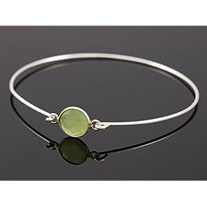 Zarter Armreif grüner Chalcedon Damen Layering Silber