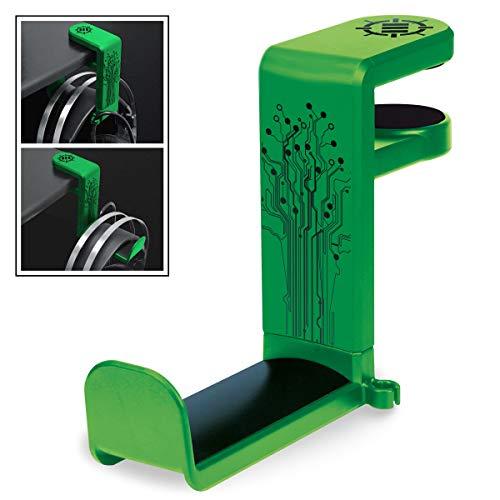 ENHANCE PC Gaming Headset Haken Halter Hanger Mount Kopfhörer Stand mit verstellbaren & Schwenkarm, unter Schreibtisch Clamp auf Design, Universal Fit & Erbaut in Kabel Clip Organizer - Grün
