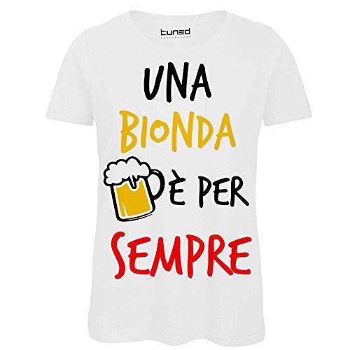 Chemagliette! t-shirt divertente donna maglietta con stampa ironica una è bionda per sempre tuned, colore: bianco, taglia: s