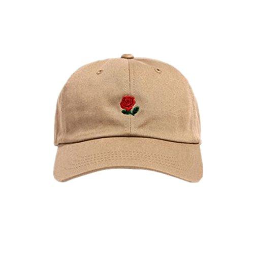 Loveso Hat Unisex Damen Herren Kappen Adult Fashion Rose Stickerei Cotton Baseball Mütze Sun Casp (aAround 56-61 cm, Beige A)
