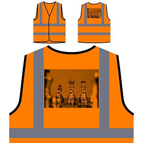 Check Mate Queen Spiel Glücksspiel Personalisierte High Visibility Orange Sicherheitsjacke Weste b218vo