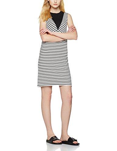 find-womens-colour-block-tunic-dress-black-black-white-striped-small