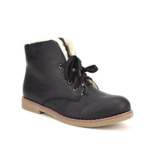 Cendriyon, Bottine Fourrée Noire CELIFA Chaussures Femme Noir
