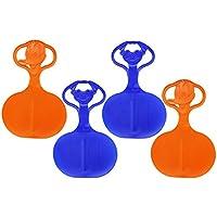 com-four® 4 Copos de Nieve, Deslizador de Nieve, Trineo con Motivo en el Mango en Colores Frescos y Coloridos (04 Pieza - Motivo)