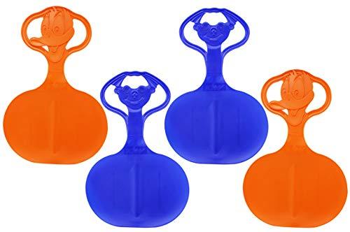 com-four® 4 Schneeflitzer, Schneerutscher, Schlitten mit Motiv im Griff in frischen, bunten Farben (04 Stück - Motiv)