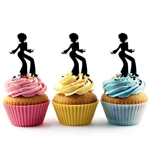 Innovedesire Disco Dance Kuchenaufsätze Hochzeit Geburtsta Acryl Dekor Cupcake Kuchen Topper Stand für Kuchen Party Dekoration 10 Stück