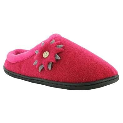 Ladies Coolers Warm Felt Mule Slippers Slip On Flat Clogs Sizes UK 4 5 6 7 8, Fuchsia UK Size 5