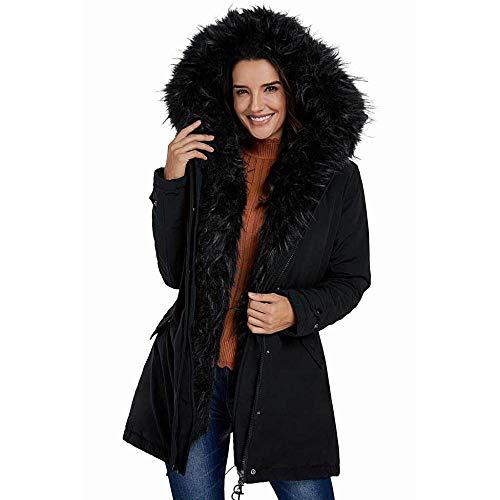 Trim Winter Mantel (KAIDILA Pelz-Trim Hooded schwarz Parka Sturm Mantel Herbst/Winter Dicker Mantel weibliche Strickjacke Zipped Loose Fit Cotto n Damen Jacke Midi)