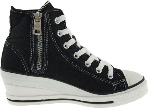 Maxstar 7 trous zippé à chaussures à talon compensé Sneakers Noir - noir