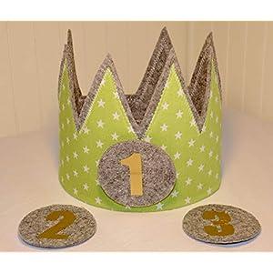 Der Wollprinz Geburtstagskrone, Krone, Kinder Geburtstag Kinderkrone Geburtstagskrone, Stoffkrone Grün mit den Zahlen