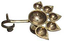 Traditional Royal Brass Panch Aarti Stand With Five Diyas