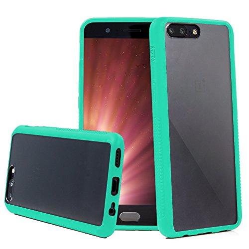 Orzly Funda OnePlus 5, Fusion [Anti-Shock] Bumper Case - Funda para el OnePlus 5 (2017 Modelo Smartphone) - Dura Cubierta Trasera (100% Transparente) con Bordes en Verde Que absorben los Impactos