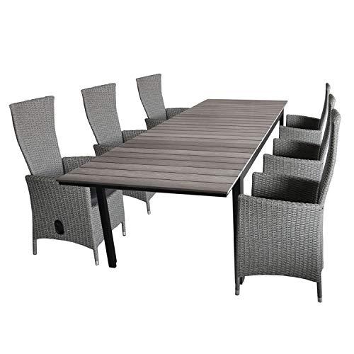 Wohaga 7tlg. Gartengarnitur Gartentisch, Polywood Tischplatte Grau, 160/210/260x95cm + 6X Gartensessel grau-meliert, stufenlos verstellbar, inkl Sitzkissen