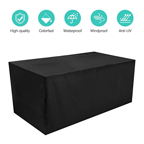 HOCOSY Funda Muebles Jardin Impermeable,Protector Mesa Apilables, Anti-UV Resistente al Polvo, 210D...