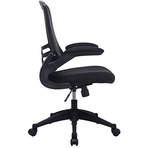 Mesh Black Office Swivel Chair with Folding Arms, Hight & Tilt Adjustment - Piranha LUNA OC11
