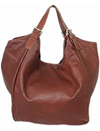 cbf6bb7a63174 Schultertasche Leder Damen Beutel Tasche große Leder-Tasche Handtasche XL  Shopper Echt-Leder Damentasche Henkeltasche…