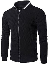 Veravant Sweat-Shirt Homme Manches Longues Pull Uni Zippé Bomber Blouson Veste Sport