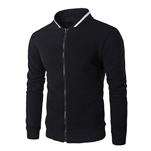 Veravant Sweat-Shirt Homme Manches Longues Pull Uni Zippé Bomber Blouson Veste Sport - Noir - Small