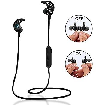 Écouteur Bluetooth Oreillette Interrupteur Magnétique Casque Sport Intra-Auriculaires sans Fil Anti Transpiration pour iPhone, iPad, iPod, Samsung, Mp3 d'autres Android Smartphones, Étui Fourni