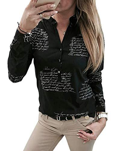 OranDesigne Damen Bluse Langarm Oberteile V-Ausschnitt Hemdbluse Casual Hemd Langarmshirt Tops Schwarz DE 40