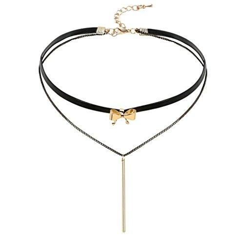 Aooaz strozzatore Nappa collana con pendente Per donne Ragazze Nero Oro Pizzo Pelle Tatuaggio Gotico Retro Annata