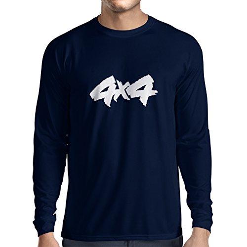 N4054L Camiseta de manga larga 4 x 4 gift (Small Azul Blanco)