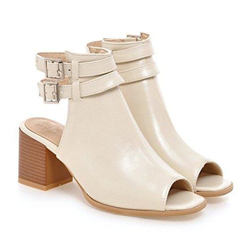 Frauen Peep Toe Block Hochhackige Ankle Straps Sandalen Schnalle Leder Hochzeit Brautschuhe,Beige-EU39=245 Ankle Strap Peep Toe Sandalen
