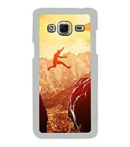 Fuson Designer Back Case Cover for Samsung Galaxy J3 (6) 2016 :: Samsung Galaxy J3 2016 Duos :: Samsung Galaxy J3 2016 J320F J320A J320P J3109 J320M J320Y (Mountain Rocky Mountains Distant Mountains Cloudy Sky Jumping)
