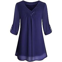 ESAILQ Damen Aufrollen Lange Ärmel Oben Beiläufig V-Ausschnitt Button Layered Chiffon Blusen (Dunkelblau, XL)